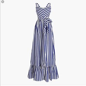J.CREW STRIPED RUFFLE MAXI DRESS